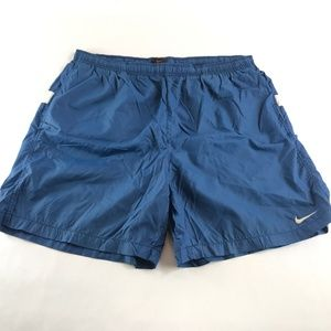 Vintage Nike Spell Out Blue Swim Trunks